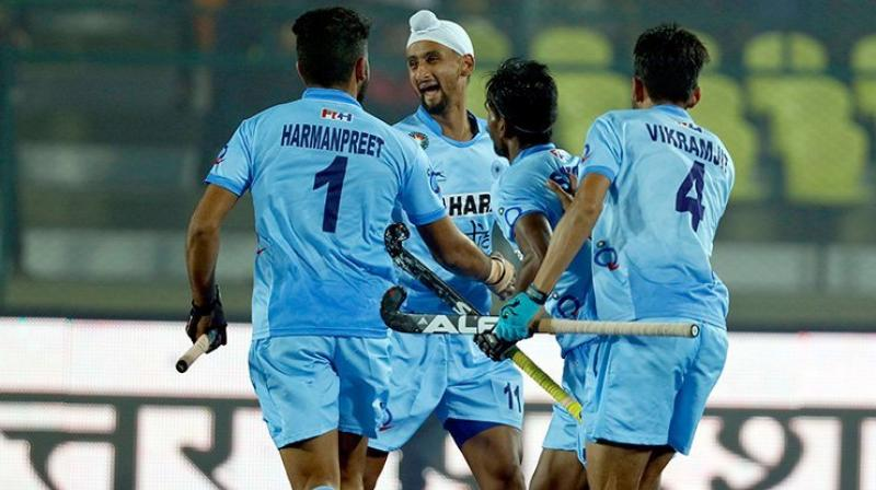 India started their campaign on a resounding note spanking Canada 4-0 in their opening Pool D match. (Photo: PTI)