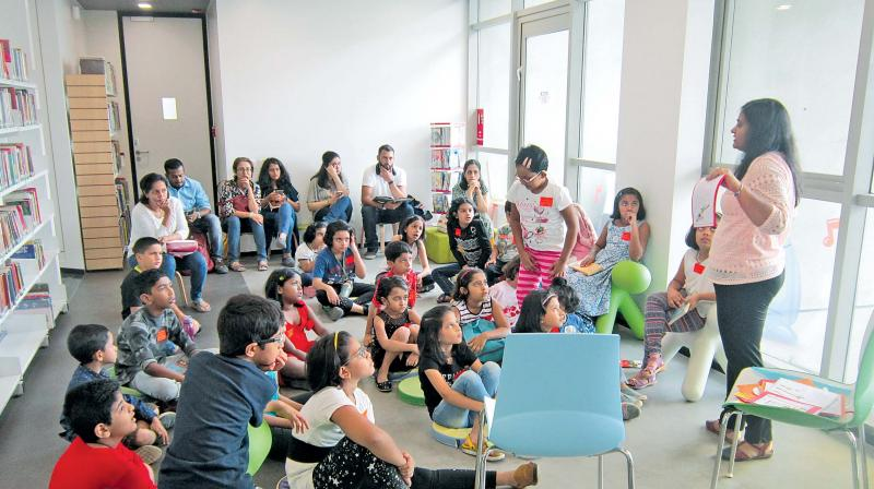 Teaching children the delights of reading book