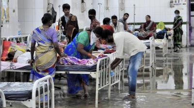 Even as coronavirus tightens its grip on the Greater Hyderabad region, a mild rainfall was enough to waterlog the patient ward at the Osmania General Hospital on Wednesday.
