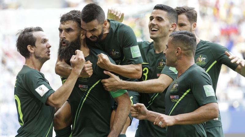 Yet just as in their opening game, Australia were handed a route back into the match from the penalty spot, thanks to the intervention of the Video Assistant Referee. (Photo: AP)