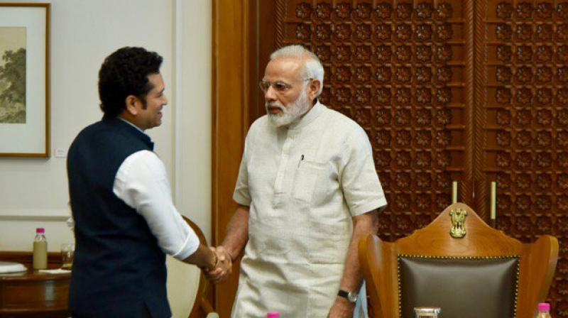 """Thank you for your inspiring message @narendramodi ji 'Jo khele, Wahi khile!' Could not have agreed more,"" tweeted Sachin Tendulkar following his meeting with India Prime Minister Narendra Modi. (Photo: Sachin Tendulkar Twitter)"