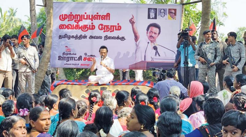DMK President M.K. Stalin addressing local residents in Grama Saba meeting held Pulivalam village in Tiruvarur on Wednesday. (Image DC)