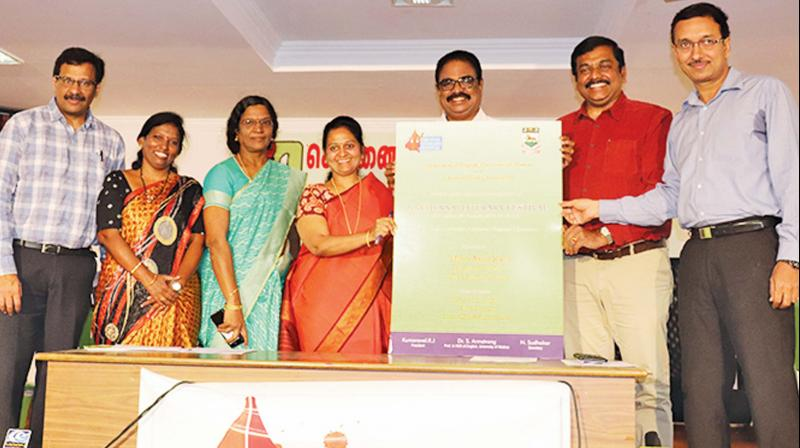 Kumaravel, president, along with other members, at the inauguration of the literary festival.