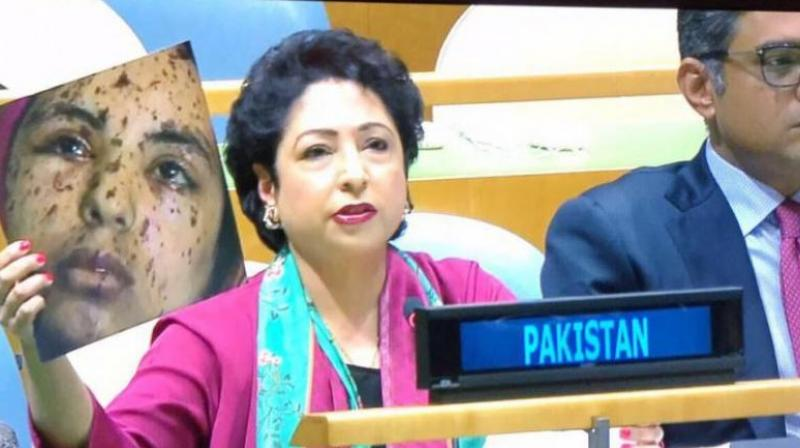 The picture used by Pakistan's Ambassador to the UN was reported by a number of media outlets as that of Rawia Abu Joma'a, a 17-year-old girl injured in Israeli airstrikes on Gaza city in 2014. (Photo: Twitter)