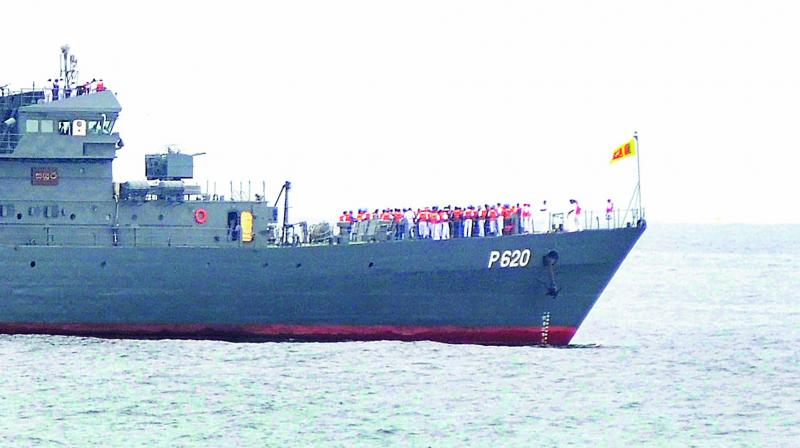 Sri Lankan Naval ship Sayura sails close to the sea shore as it enters the Visakhapatnam harbour on Thursday, after taking part in the SLINEX 2017, a bi-lateral Naval Exercise between India and Sri Lanka. (Photo: DC)