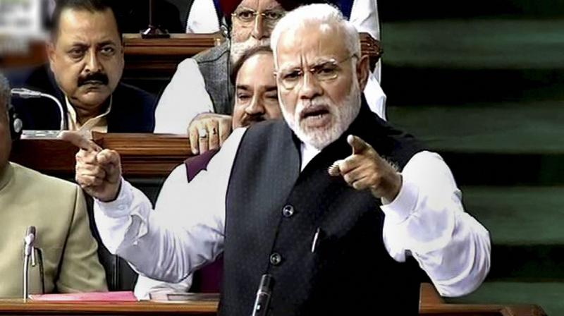 Prime Minister Narendra Modi speaks in Lok Sabha, in New Delhi. (Photo: PTI)
