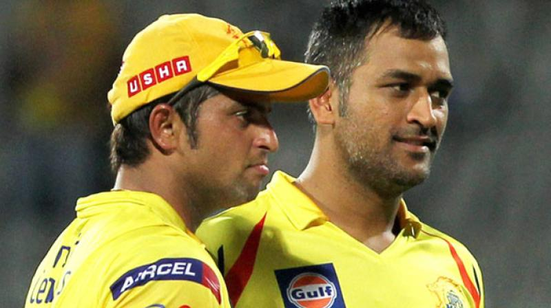 """""""But he does get angry, you don't see it. The cameras don't pick it up. But as soon as the telecast cuts to the ads, he will say 'Better get your act together',"""" said Suresh Raina as he spoke about how MS Dhoni gets angry on the cricket field. (Photo: PTI)"""