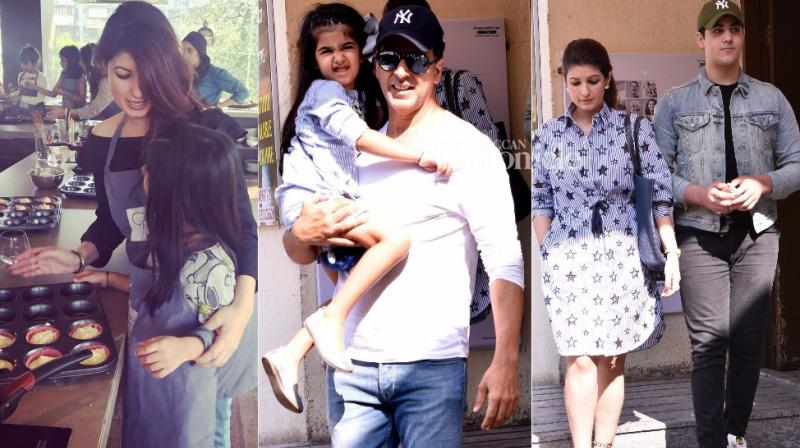 One of the busiest couples in Bollywood, Akshay Kumar and Twinkle Khanna spent time with their kids Aarav and Nitara over the weekend. (Photo: Viral Bhayani/ Twitter)