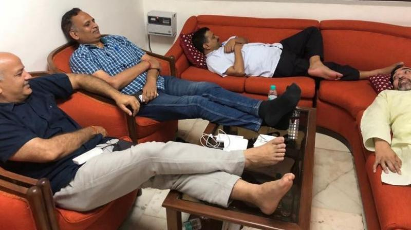 Delhi Chief Minister Arvind Kejriwal and three of his ministers have been protesting at the guest room at L-G's residence. (Photo: Twitter | @ArvindKejriwal)