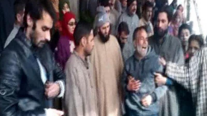Relative mourning the death of deceased SPO Jan on Saturday. (Photo: ANI)