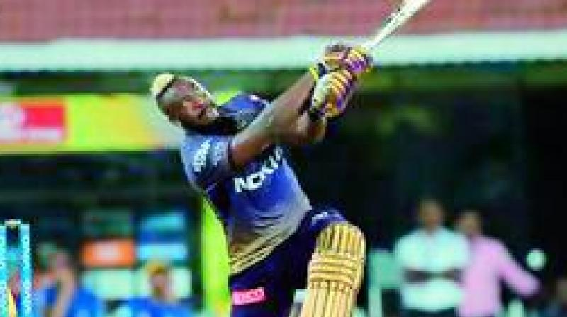 Andre Russell plays a shot during his knock against the Chennai Super Kings in this file photo.