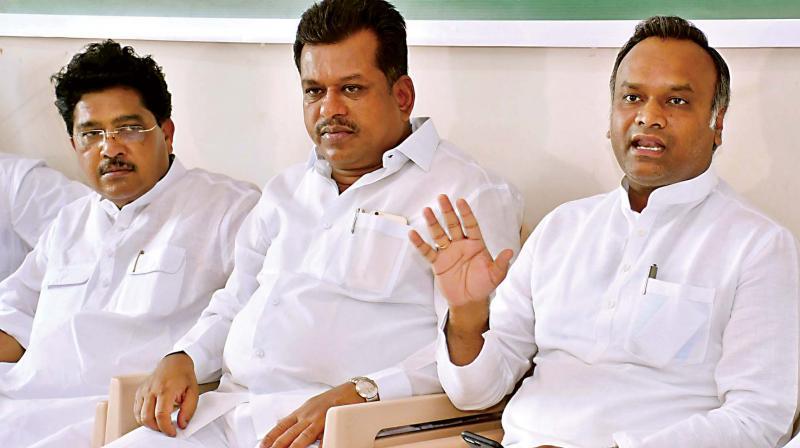 Minister Priyank Kharge and former Minister P.T. Parameshwar Naik address the media in Kalaburgi on Thursday. (Photo: KPN)