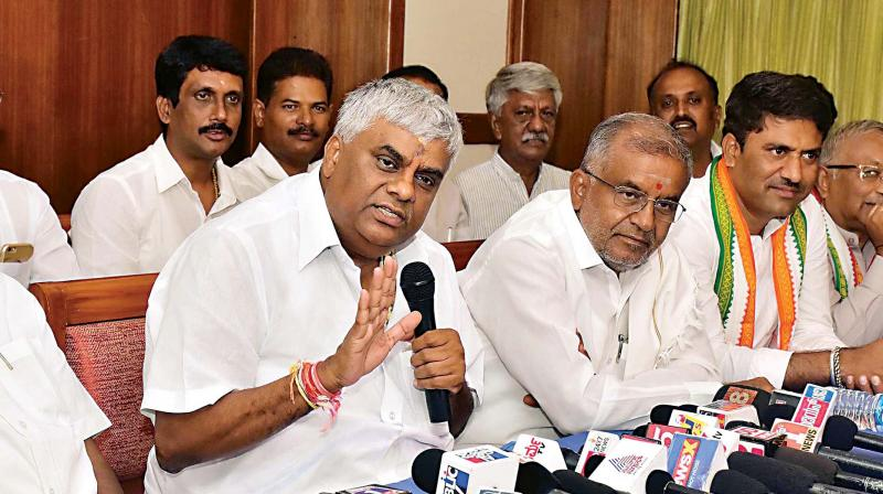 Public Works Minister H.D. Revanna addresses the media in Mysuru on Thursday (Photo:  KPN)