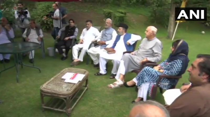 he meeting was also attended Mehbooba Mufti (PDP), Omar Abdullah (NC), Taj Mohiuddin (Congress), Muzaffar Beig (PDP), Sajad Lone and Imran Ansari (Peoples Conference), Shah Faesal (J&K Peoples Movement) and M Y Tarigami (CPI-M). (Photo: ANI)