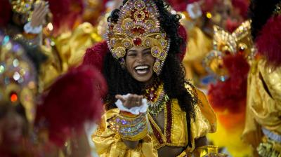 Rio de Janeiro's top samba schools danced and sang hard Monday as millions of other Brazilians did the same during nationwide Carnival celebrations. (Photo: AFP)