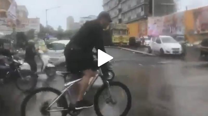Video: Amidst heavy rains, Salman Khan rides bicycle to reach 'Dabangg 3' set; watch