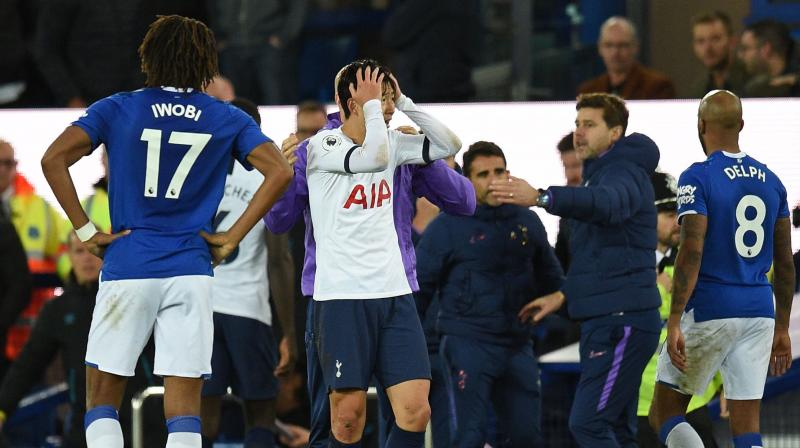 Tottenham Hotspur have appealed the red card shown to striker Son Heung-min for the tackle that led to Everton midfielder Andre Gomes suffering a horrific ankle injury in their Premier League match on Sunday, British media have reported. (Photo:AFP)