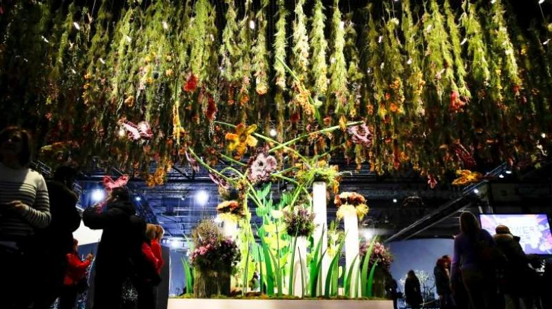 The flower show's Entrance Garden draws inspiration from the Pop Art movement. (Photo: AP)