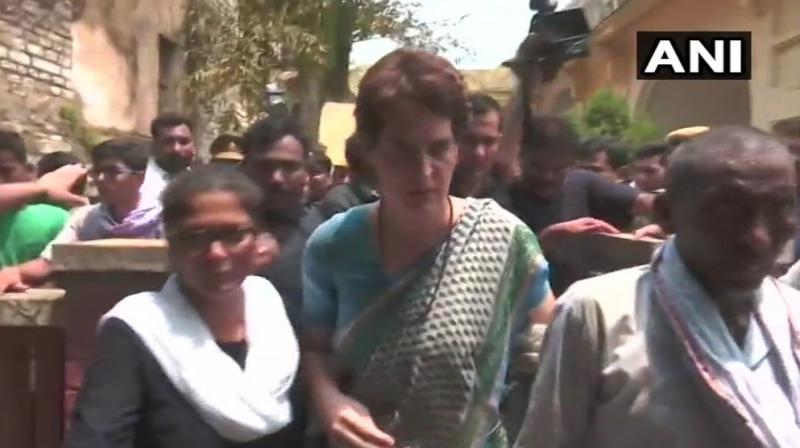 On Saturday, two family members of the victims of Sonbhadra's firing case were allowed to meet Priyanka Gandhi at Chunar Guest House. (Photo: Twitter I ANI)