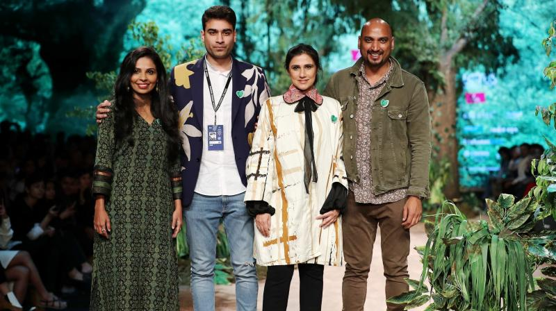 Designers at Green Heart Fashion Show; L-R: Shalini James, Sahil Kochhar, Rina Dhaka and Samant Chauhan. (Photo: FDCI)