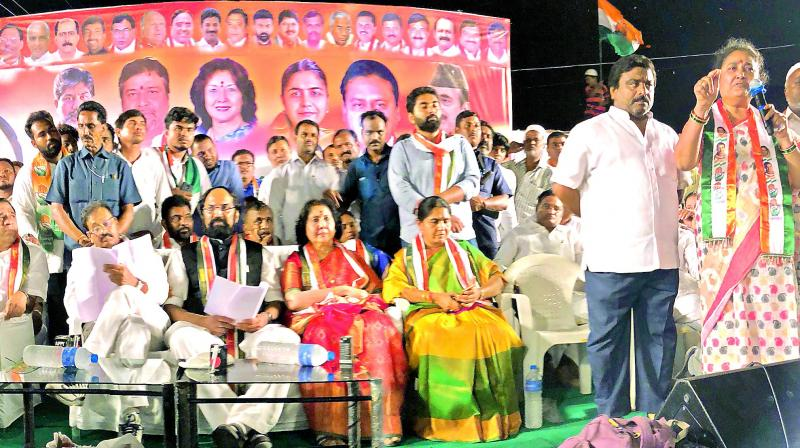 Ms Nirmala, wife of former Congress MLA Jagga Reddy addresses a meeting which was also attended by TPCC chief N. Uttam Kumar Reddy and former ministers J. Geeta Reddy and V. Sunitha Laxma Reddy in Sangareddy on Wednesday.