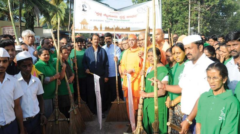 A file picture of cleanliness campaign in Mysuru