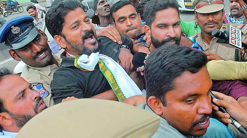 Congress MP Revanth Reddy, who was staging a protest in  support of striking RTC employees, was arrested after trying to enter Chief Ministers' office on Monday. (Photo: DC)