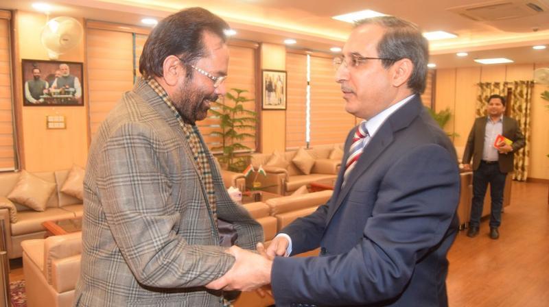 Union Minister Mukhtar Abbas Naqvi with Saudi Arabia's Ambassador to India Saud Mohammed Alasti. (Photo: Twitter)