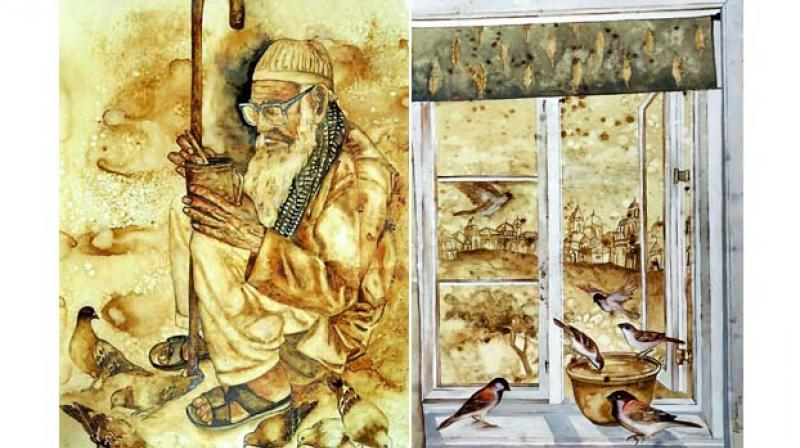 (Left) intriguing visuals: Afza's sepia-toned artwork is straight from the streets around Charminar. (Right) fresh experiences: The painting is inspired by her present surroundings in Sydney, Australia