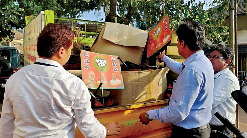 Poll officials seize BJP's poll related material in Yellapur constituency