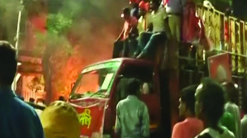 Violence during BJP president Amit Shah's roadshow in Kolkata on Tuesday (Photo: AP)