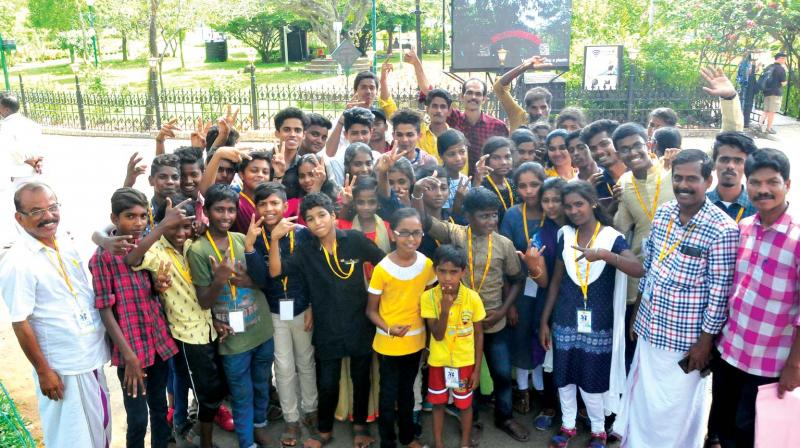 Children from Attapadi who came to the state capital for taking part in the second edition for International Children Film Festival on Tuesday (Photo: A.V.MUZAFAR)