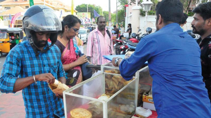 Snacks up for grabs at make shift Ramzan market near Palayam mosque in Thiruvananthapuram on Tuesday.