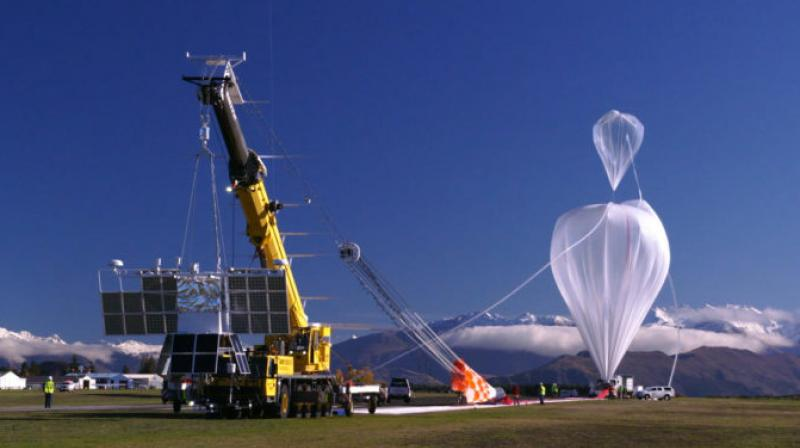The Compton Spectrometer and Imager (COSI) payload just prior to launch from Wanaka, New Zealand, on a NASA super pressure balloon in May 2016. (Photo:NASA)