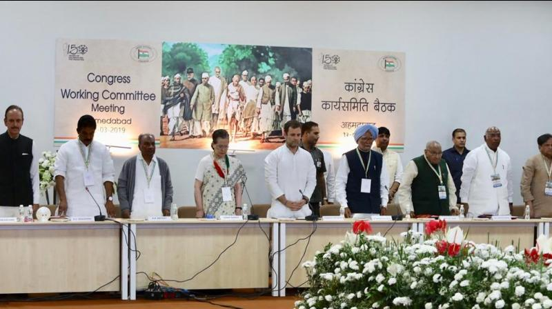 This is also the first CWC meeting to be attended by Priyanka Gandhi Vadra, who took a political plunge in January. (Photo: INC India | Twitter)
