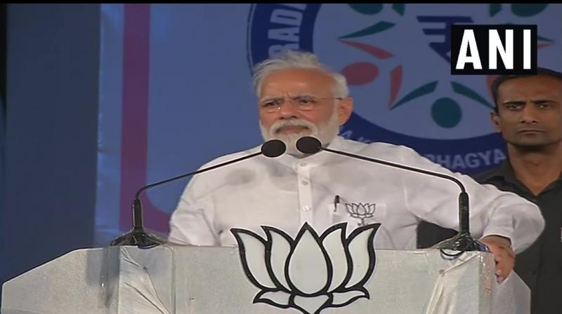 Prime Minister Narendra Modi on Saturday said the Congress was dreaming about coming to power at the Centre and asked voters to punish it and its allies in such a way they would not be able to save even their deposits. (Photo: ANI/ Twitter)