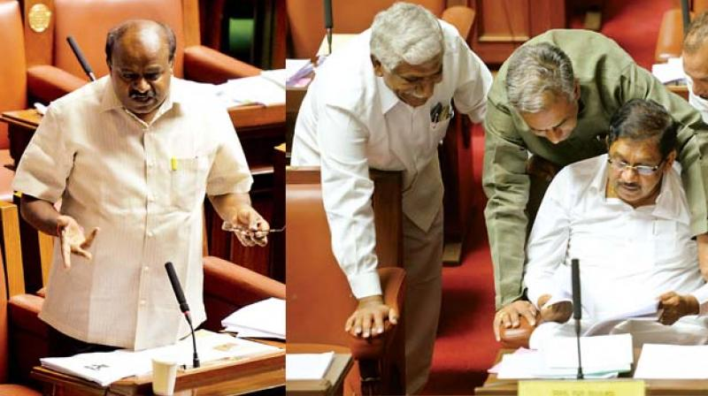 State JD(S) President H.D. Kumaraswamy speaks during the Assembly session on Friday. (Top) Home Minister Dr G. Parameshwar with MLCs Basavaraj Horatti and Ivan D'Souza during the Council session 	(Photo:DC)