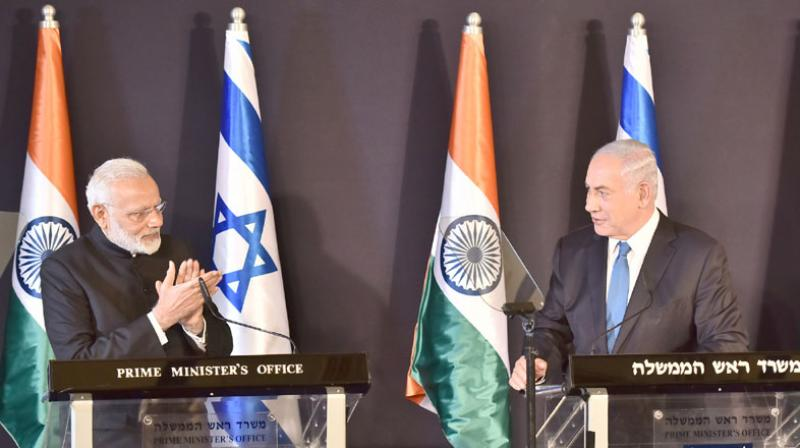 Prime Minister Narendra Modi during joint press statement with his Israeli counterpart Netanyahu.
