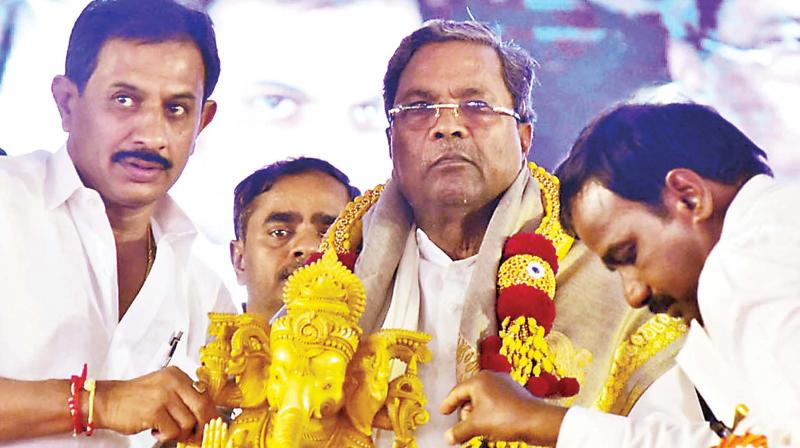 CM Siddaramaiah at the launch of developmental works in Magadi on Wednesday. (Photo: DC)