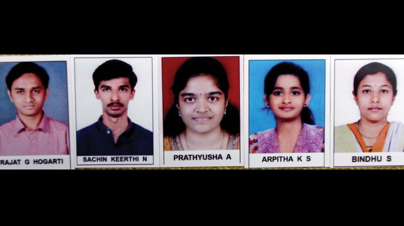 From left, Rajat G. Hogarti, Sachin Keerthi N, Prathyusha A, Arpitha K.S. and  Bindhu S. who topped BE exams in their respective streams. (Photo: DC)