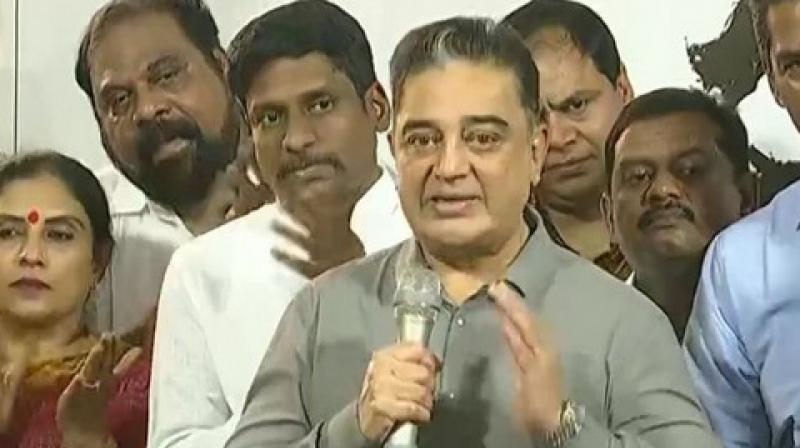 Makkal Needhi Maiam president Kamal Haasan on Wednesday reiterated that he may join hands with actor Rajinikanth if need arises. (Photo: ANI)