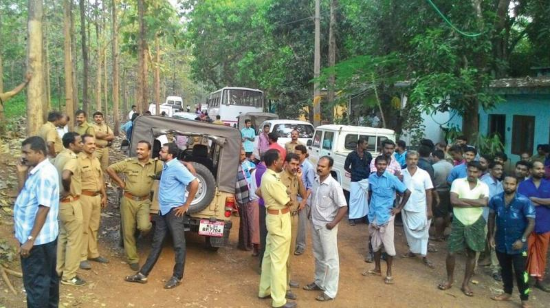 People gather at Padukka forest station premises.