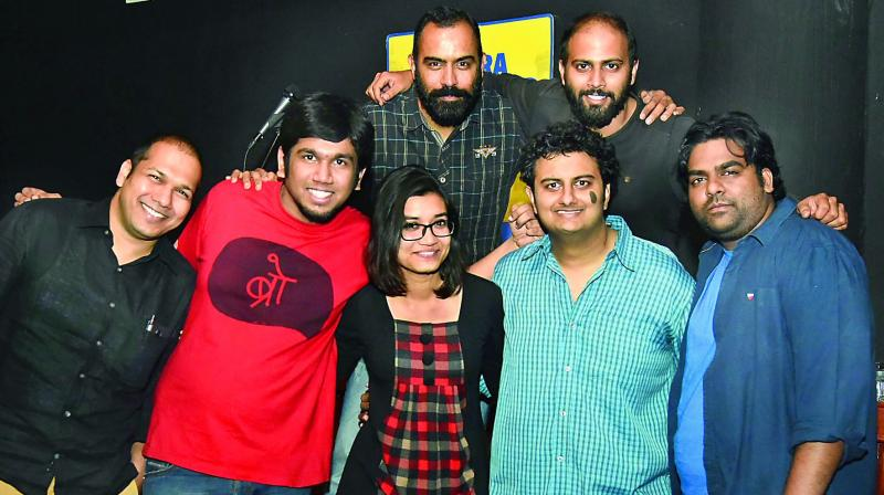 Performers: (Top row, left to right) Rajasekhar Mamidanna and Vivek Muralidharan. (Bottom row) Nitin, Yash, Manjusha, Aditya Sridhar and Sandesh Johnny