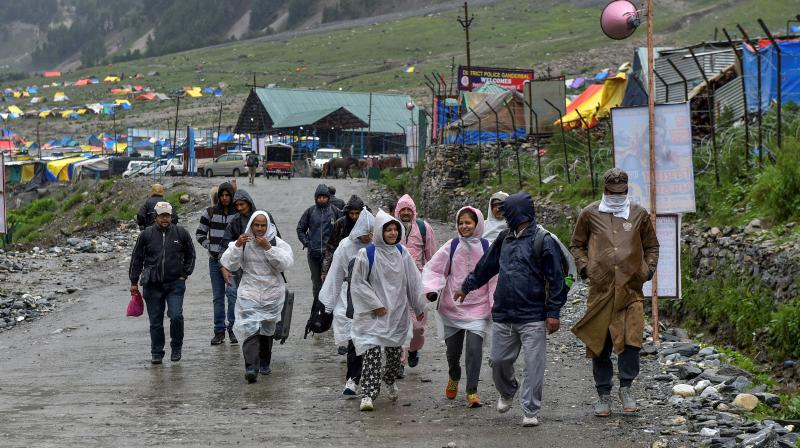 The annual two-month Amarnath Yatra to commence on Thursday was halted due to bad weather and heavy rainfall. (Photo: PTI)