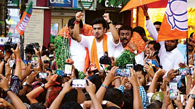 In fact when Tejasvi came to seek the blessings of Tejaswini, he was greeted with 'go back Surya' slogans.