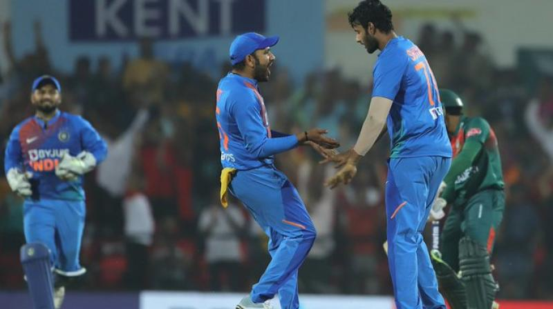 Deepak Chahar's six-wicket haul and Shivam Dube's three-wicket haul helped India to defeat Bangladesh by 30 runs on Sunday in the final T20I of the three-match series here at the Vidharba Cricket Association Stadium. (Photo:BCCI)
