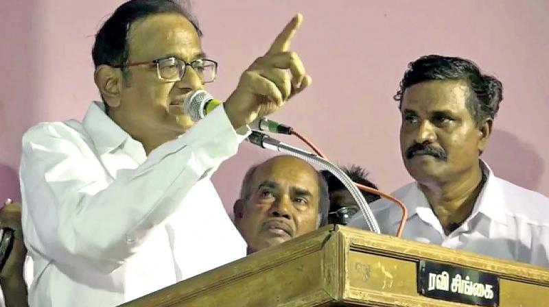 P. Chidambaram adressing the crowd in Sivagangai on Monday. (Photo: DC)