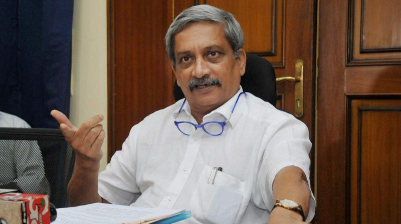 Goa Chief Minister Manohar Parrikar addressing press conference in Panaji. (Photo: PTI)