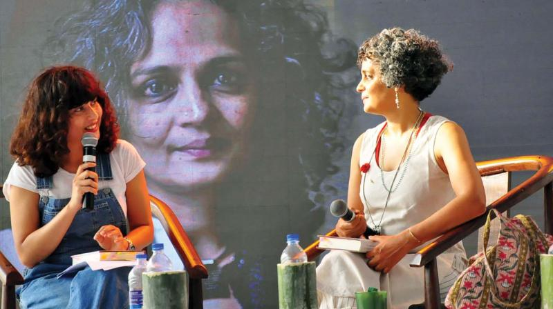 Writer Arundati Roy and Divya Dwivedi during the Kerala Literature Festival at Kozhikode.  (Photo: Viswajith K.)