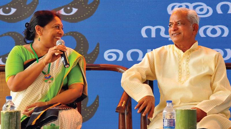 Writer K.R. Meera with rationalist and Kannada writer K.S. Bhagavan at a session during the Kerala Literature Festival in Kozhikode on Thursday.